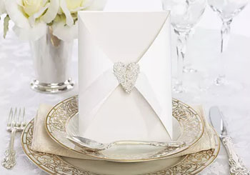 wedding table setting with card