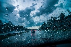 rainy car